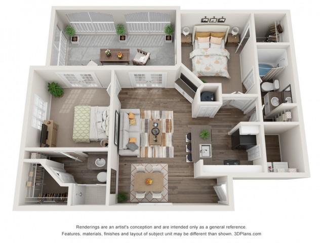2 bedroom 2 bath apartment floor plan at Mezzo of Tampa in FL