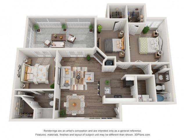 3 bedroom 2 bath apartment floor plan at Mezzo of Tampa in FL