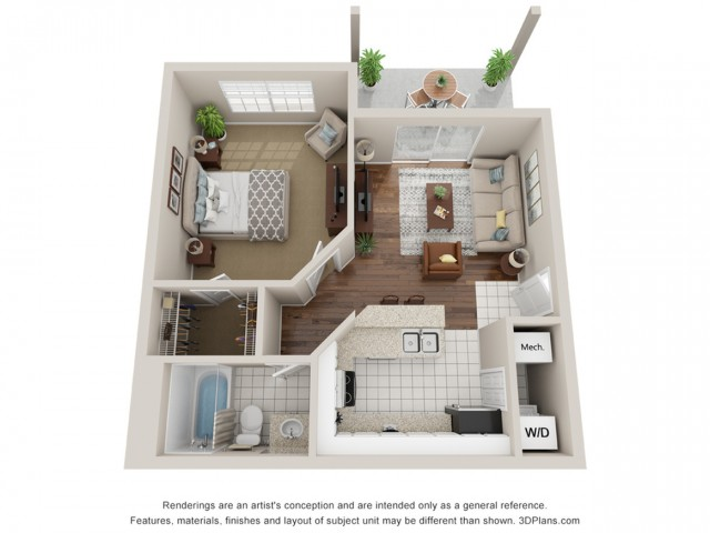 One bedroom apartment 3D Floor Plan South Tampa, FL