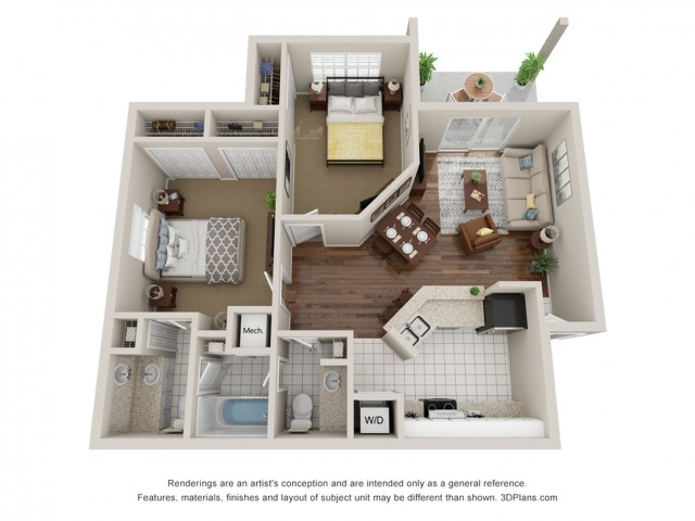 Two bedroom apartment 3D floor plan Tampa, FL
