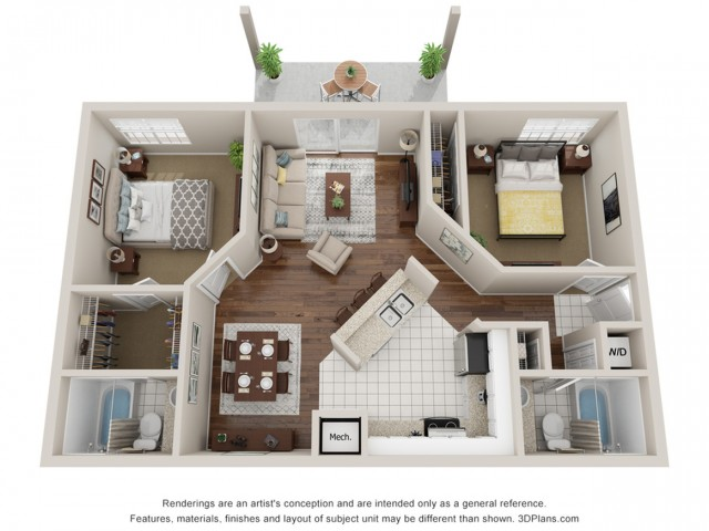 Two bedroom apartment 3D Floor Plan South Tampa, FL