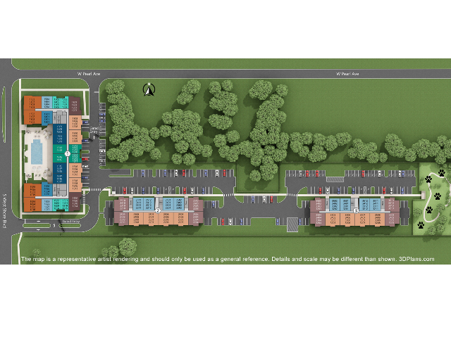 Site Plan displaying location of buildings, floor plan types, apartments units and parking spaces.