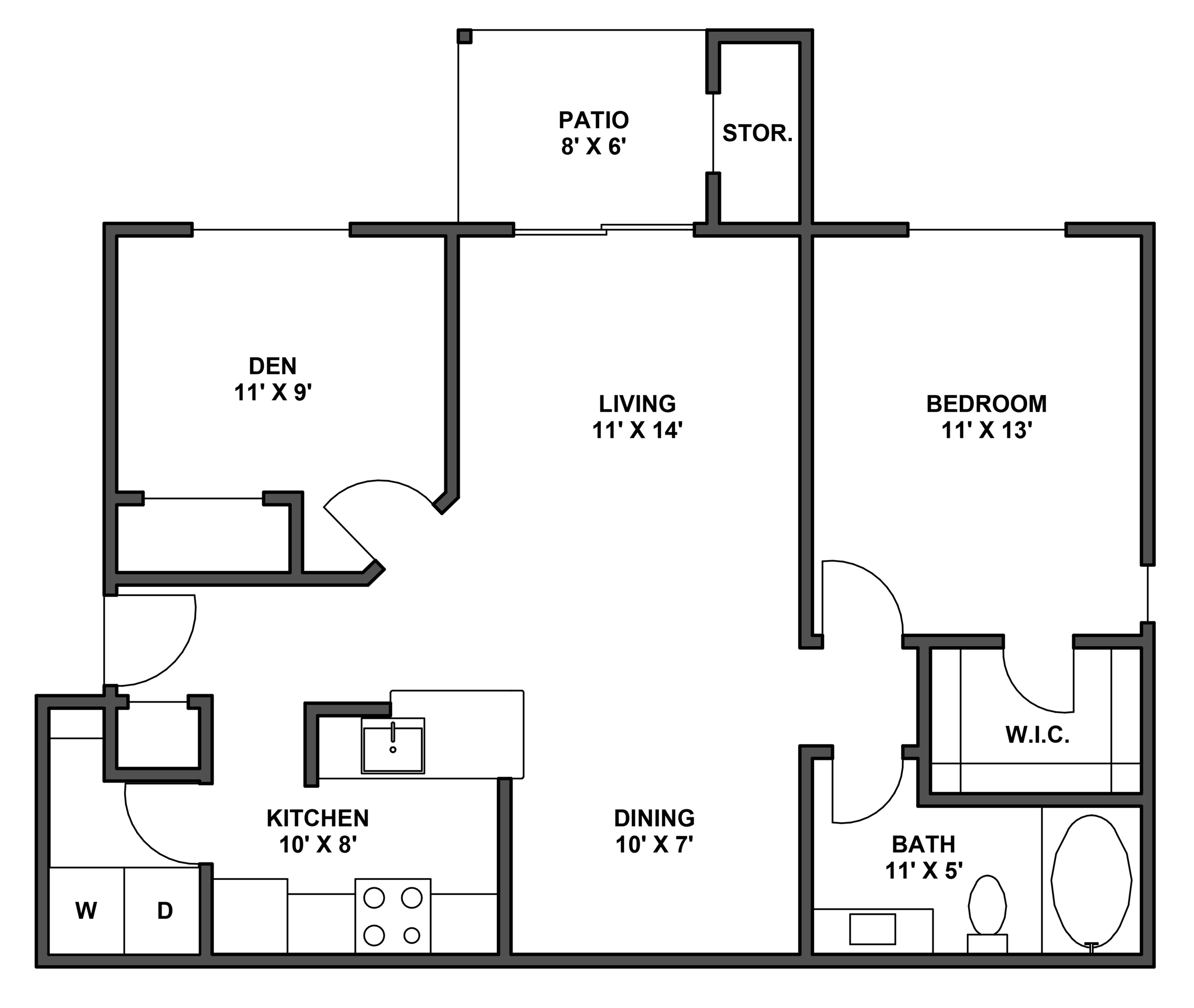 One bedroom, one bathroom, kitchen, dining room, living room, patio with storage, two walk in closets, laundry room, A5 floor plan, 870 square foot.