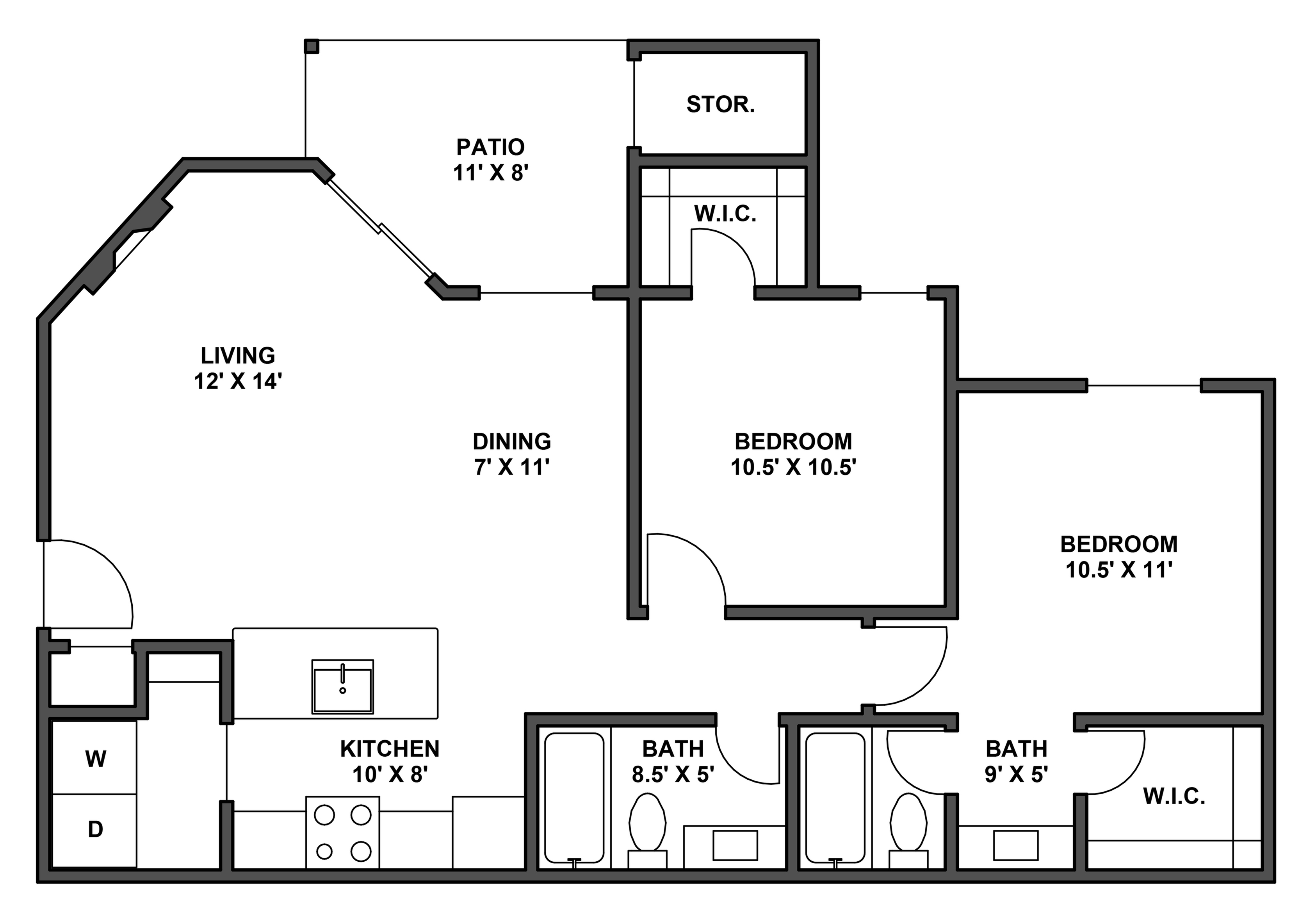 Two bedroom, two bathroom, patio with storage, living room, dining room, kitchen, laundry room, two walk in closets. B1 floor plan, 877 Square feet.