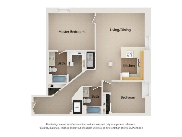 One Bedroom One Bathroom + Den Floor Plan