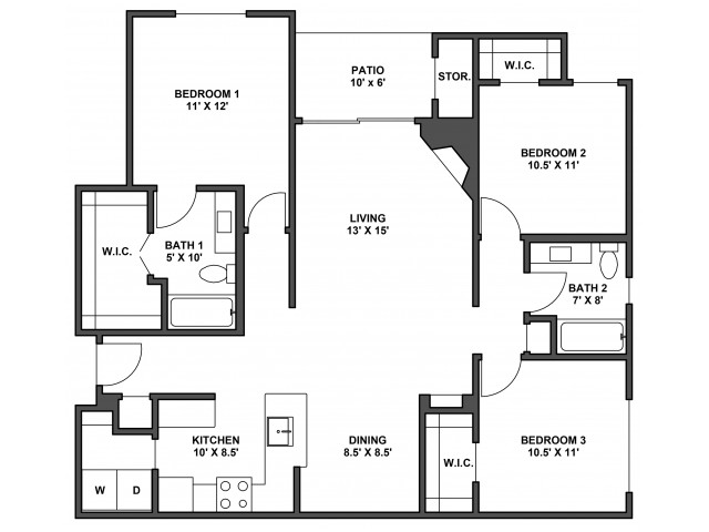 Three bedroom, two bathroom, Kitchen, dinning room, living room, laundry room, patio with storage, three walk in closets