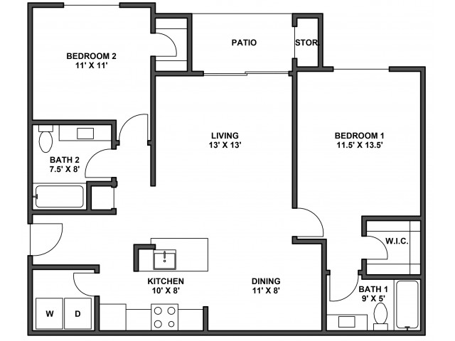Two bedroom, two bathroom, patio with storage, living room, dining room, kitchen, laundry room, two walk in closets. B5D floor plan, 1044 Square feet.