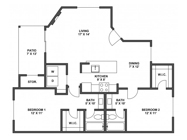 Two bedroom, two bathroom, patio with storage, living room, dining room, kitchen, laundry room, two walk in closets. B2R floor plan, 1012 Square feet.