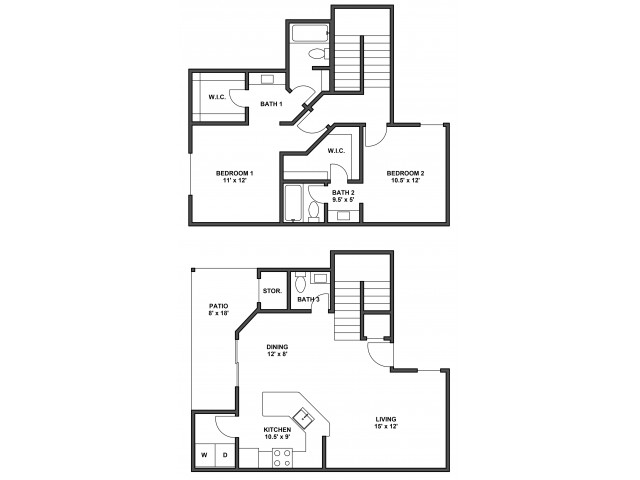 Two bedroom, two bathroom, patio with storage, living room, dining room, kitchen, laundry room, two walk in closets, split level. B3R floor plan, 1198 Square feet.