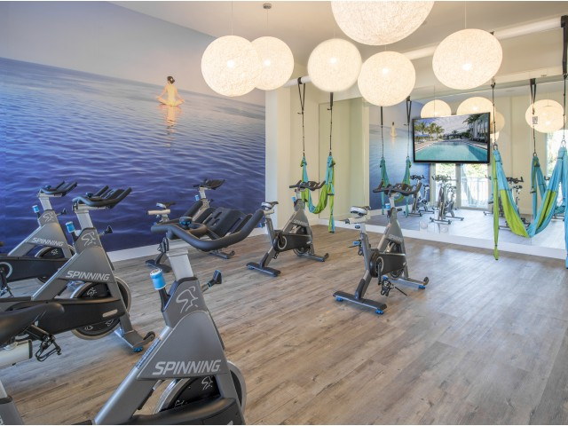 Fitness room with yoga equipment, wood flooring, a mirrored wall, stationary bikes, and a large wall mural