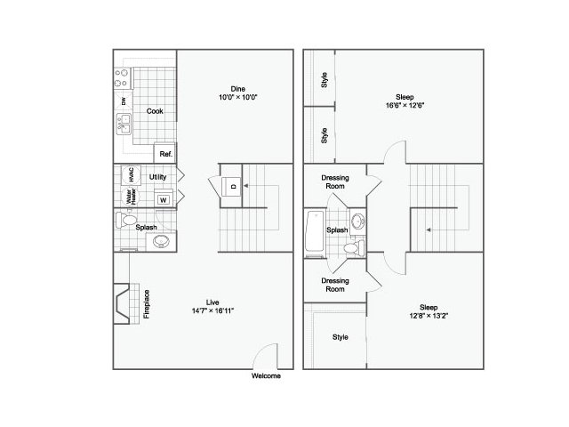 Two bedroom Two bathroom townhome floor plan