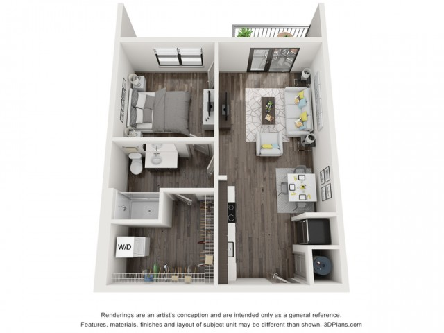 3D Floor Plan of A2 One Bedroom One Bath