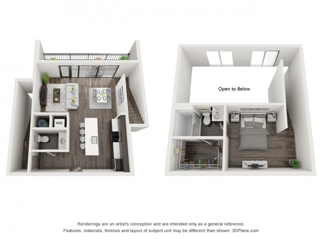 One Bedroom One 1/2 Bath Loft