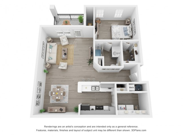 1 bed 1 bath room including Cabinetry with Brushed Nickel Hardware, Name-Brand Appliances, Private Balcony or Patio, Full Sized Washer & Dryer In Every Home, White Quartz Countertops, Marble Backsplash, Modern Hardware Wood Inspired Plank F