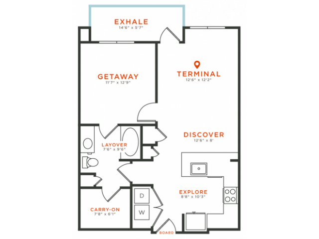 1 bedroom 1 bath with dining area, private patio, walk-in closet and 756 square feet