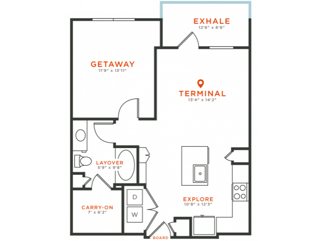 1 bedroom 1 bath with dining area, private patio, kitchen island, walk-in closet and 760 square feet