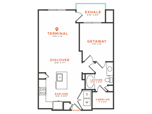 1 bedroom 1 bath with dining area, private patio, kitchen island, walk-in closet and 837 square feet