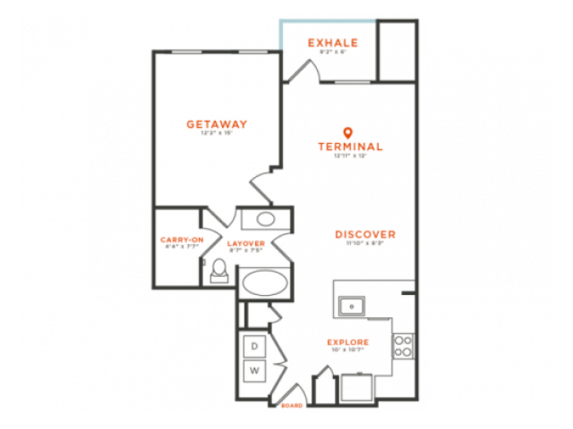1 bedroom 1 bath with dining area, private patio, walk-in closet and 773 square feet
