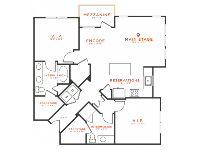 2 bedroom 2 bath apartment with kitchen island, dining area walk-in closets, private patio and 1165 square feet