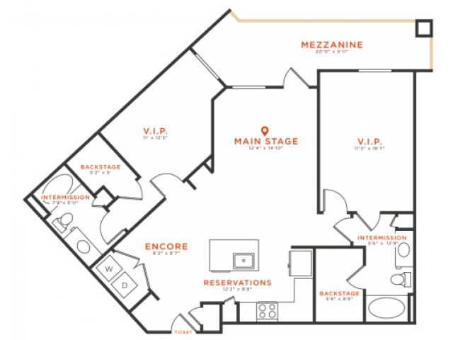 2 bedroom 2 bath apartment with dining area, kitchen island, walk-in closets, private patio and 1186 square feet