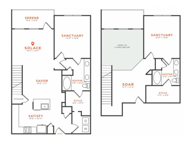 2 bedroom 2 bath two-story townhome apartment with kitchen island, dining area, walk-in closets, private patio and 1621 square feet