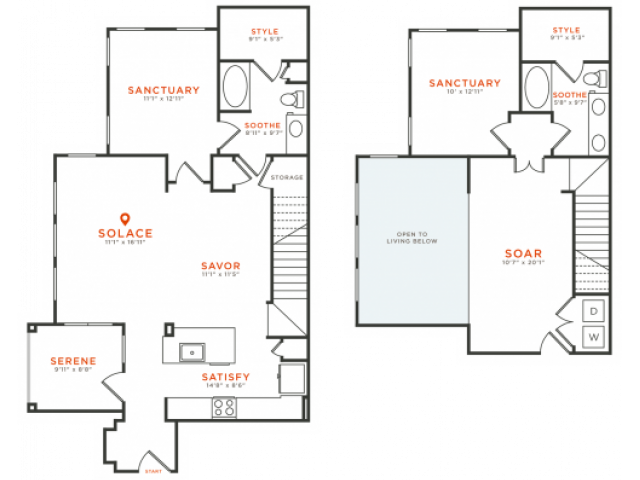 2 bedroom 2 bath two-story townhome apartment with kitchen island, dining area, walk-in closets, private patio and 1581 square feet