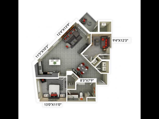 1 bedroom, 1 bathroom with den