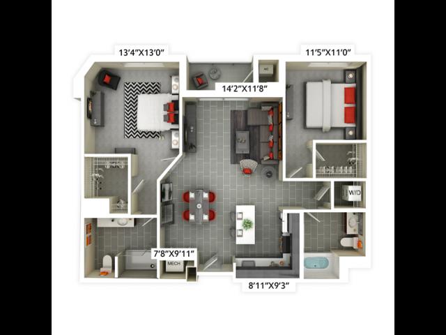 2 bedroom with 2 bathroom