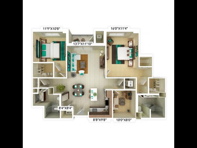 2 bedroom, 2 bathroom with den