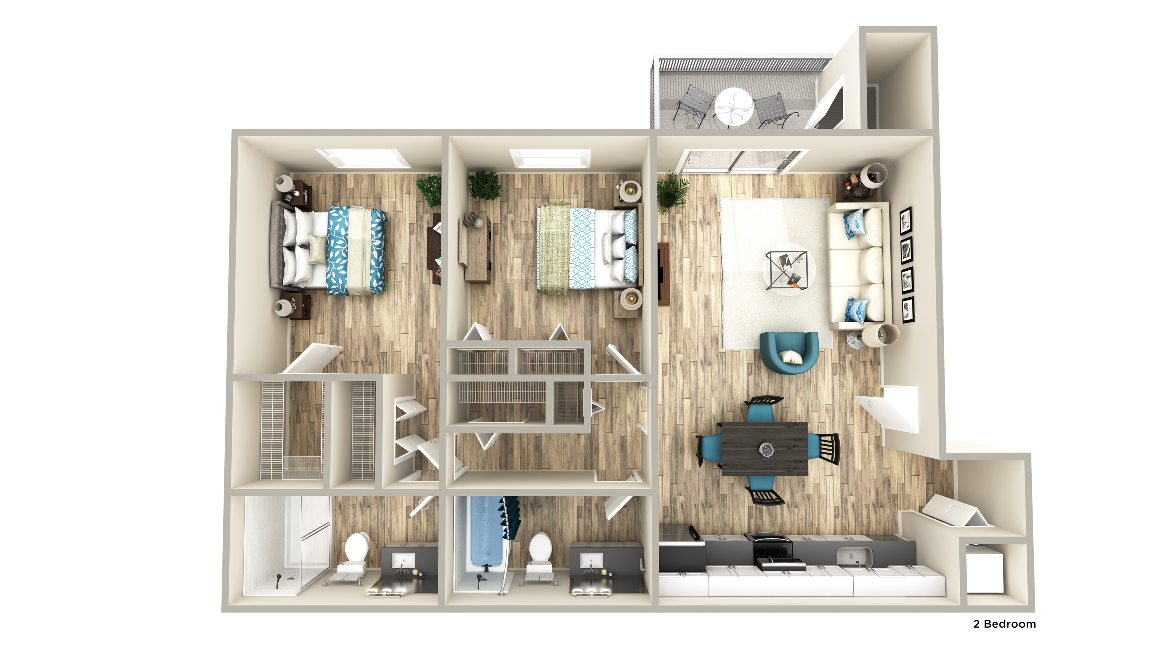 Two bedroom side by side with two bathroom
