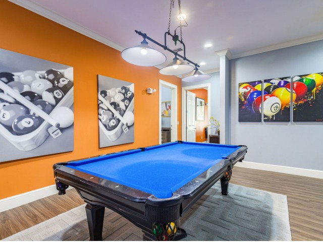 Park Lane Apartments in Gainesville clubhouse billiards room with overhead lighting and artwork