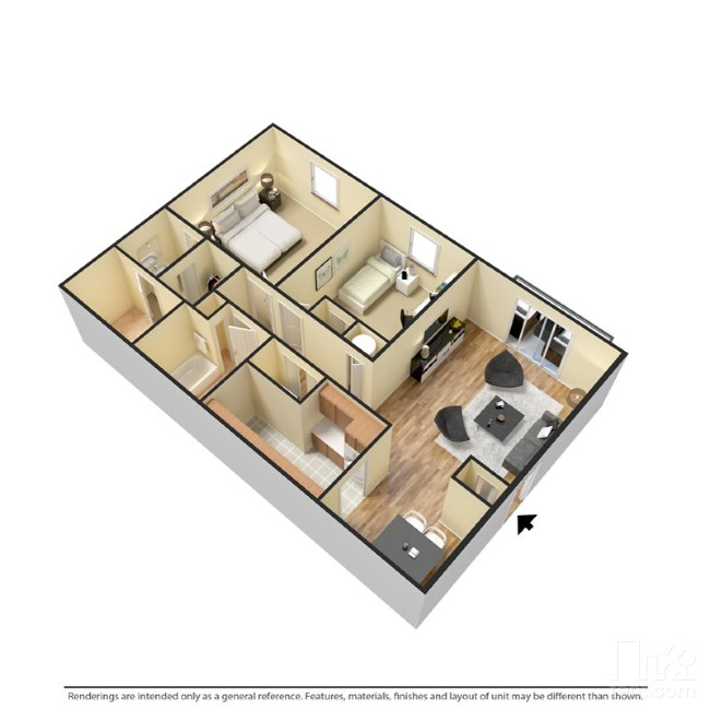 2 bedrooms with 2 bathroom
