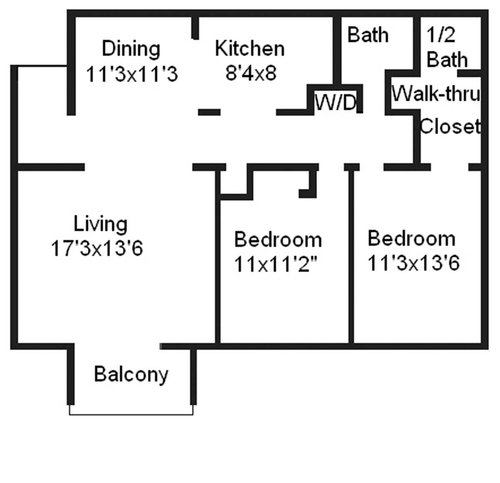 2 bedrooms and 1 bathrooms
