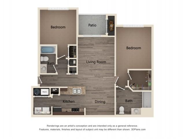 Two Bedroom Two Bath 2D Floor Plan