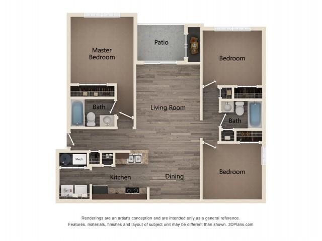 3 Bedroom 2 Bathroom 2D Floor Plan