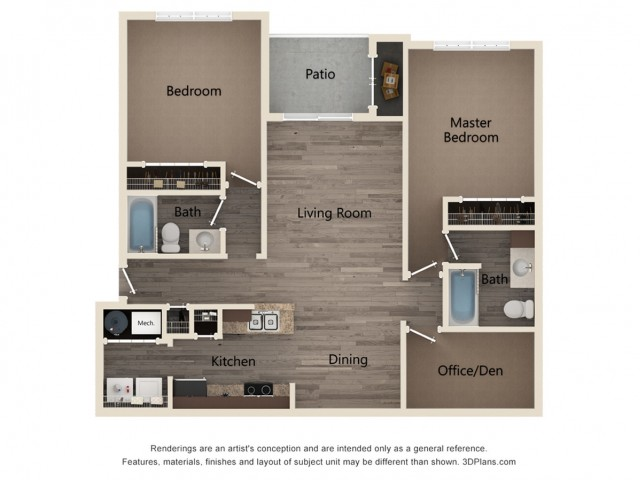 Two Bedroom Two Bath with Den 2D Floor Plan