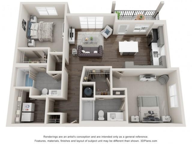 Aberdeen - Two Bedroom | Two Bathroom 1122 sq feet