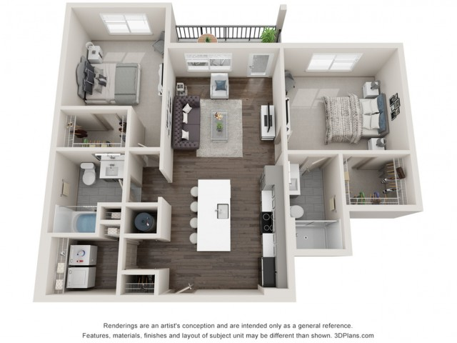Delmar - Two Bedroom | Two Bathroom 1077 sq feet