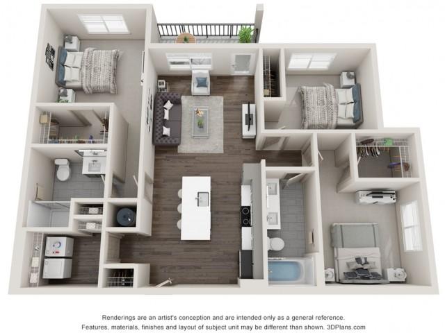 Beryl - Three Bedroom | Two Bathroom 1275 sq feett