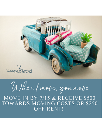 Move in by 7/15 & receive $500 towards your moving costs or $250 off rent!