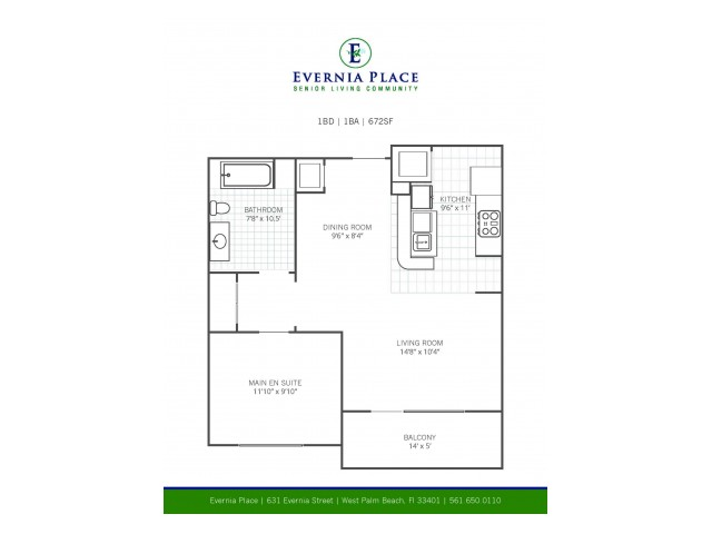 One Bedroom One Bath l A1 Layout l Evernia Place