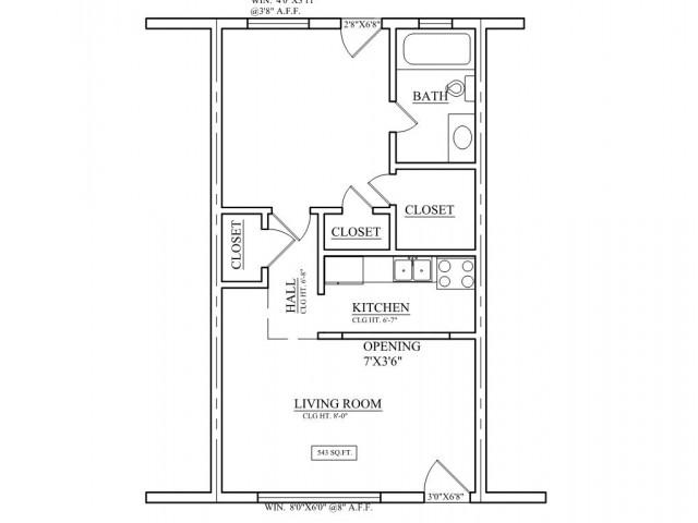 one bedroom, one bathroom apartment