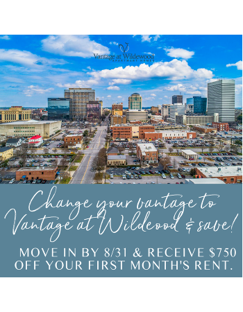 Change your vantage and save- move by 8/31 and receive $750 off first month's rent!
