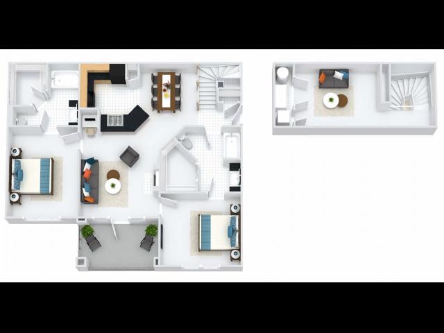 Bristol Loft 2BR/2BA 1320 square feet