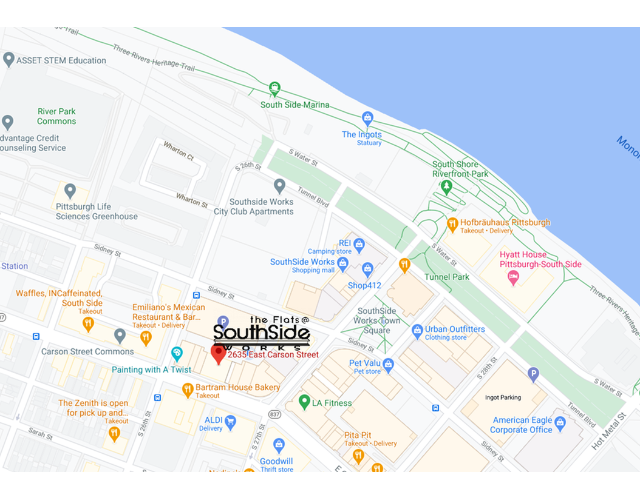 Flats at SouthSide Works map