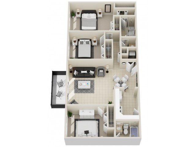 Remington - Three Bedroom | Two Bathroom 1168 Square Feet