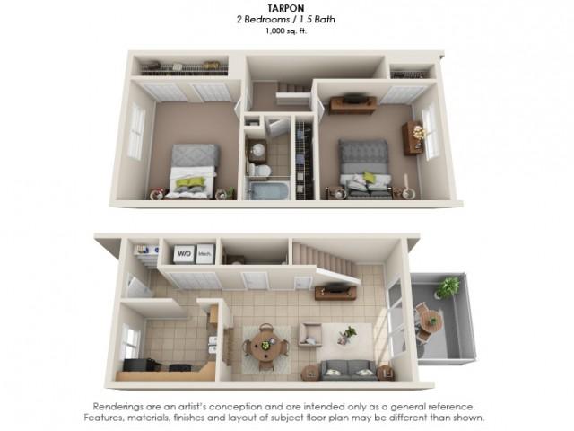 Two Bedroom | One & Half Bathroom