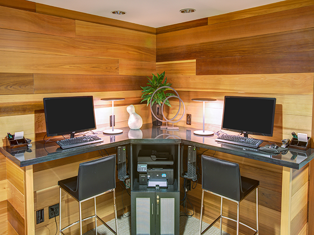 Business center and cyber lounge with wood panelling