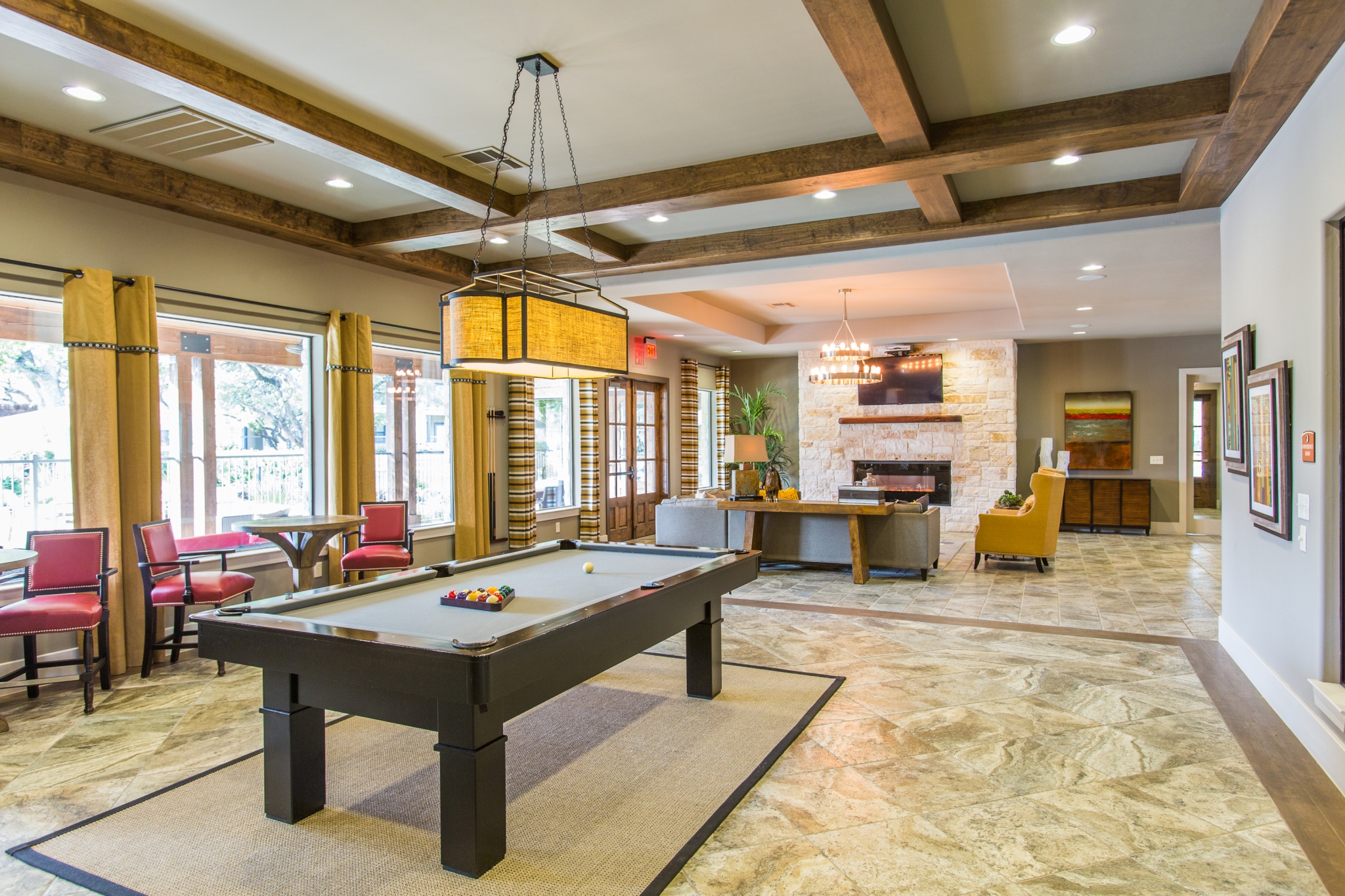 Pool Table and Seating in Clubhouse