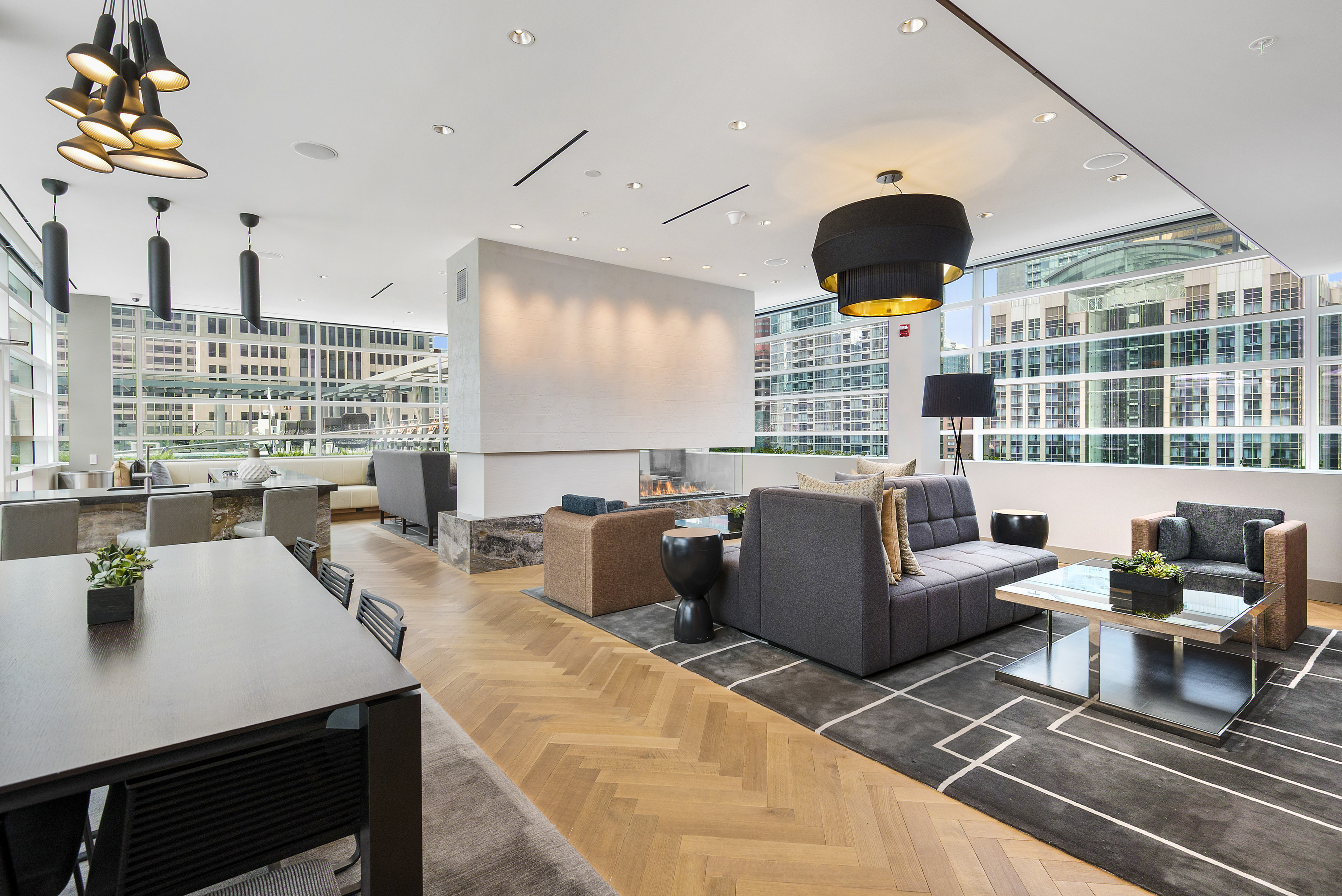 Furnished community sky lounge with city views
